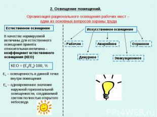 2. Освещение помещений. Организация рационального освещения рабочих мест – один