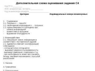 Дополнительная схема оценивания задания С4 Код ППЭ _________ ФИО экзаменатора- э