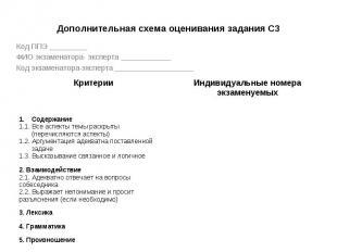 Дополнительная схема оценивания задания С3 Код ППЭ _________ ФИО экзаменатора- э
