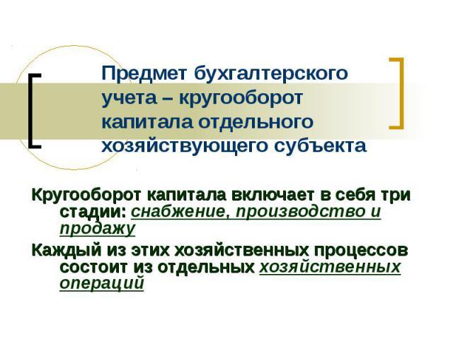 Предмет бухгалтерского учета – кругооборот капитала отдельного хозяйствующего субъекта Кругооборот капитала включает в себя три стадии: снабжение, производство и продажу Каждый из этих хозяйственных процессов состоит из отдельных хозяйственных операций