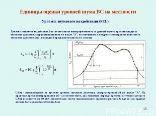 * Единицы оценки уровней шума ВС на местности Уровень звукового воздействия (SEL