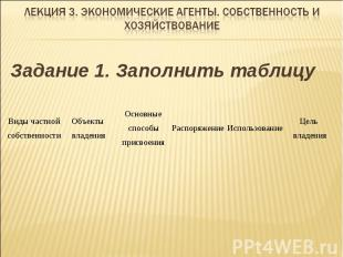 Задание 1. Заполнить таблицу Виды частной собственности Объекты владения Основны