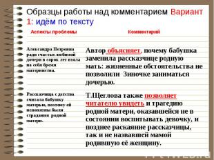 Образцы работы над комментарием Вариант 1: идём по тексту Комментарий Аспекты пр