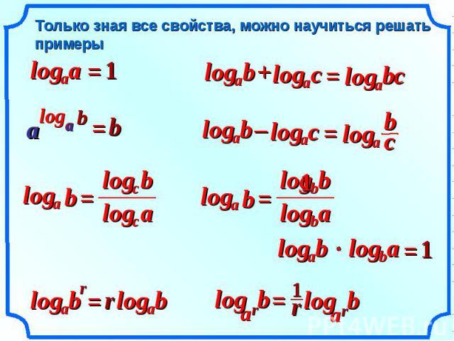Только зная все свойства, можно научиться решать примеры a a log = 1 b a log + с a log = с a log b b a log a = b b a a r b a log = r b a log b c log a c log a log b = a b log a log b b b log 1 b a log a b log = 1 b a log – с a log = с a log b = b r …