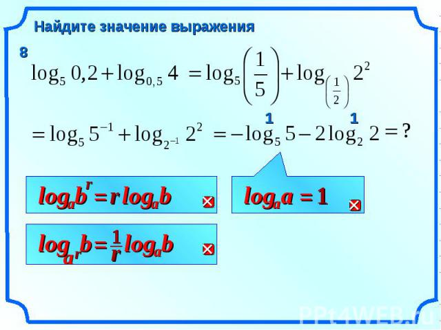 Найдите значение выражения r b a log = r b a log r b a log = r b a log 1 a a log = 1 1 1 8