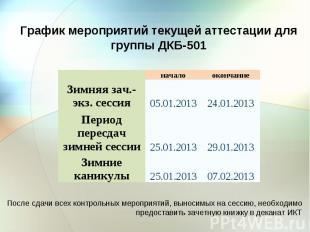 График мероприятий текущей аттестации для группы ДКБ-501 Зимняя зач.-экз. сессия
