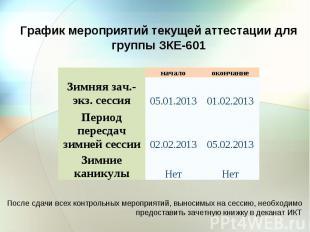 График мероприятий текущей аттестации для группы ЗКЕ-601 Зимняя зач.-экз. сессия