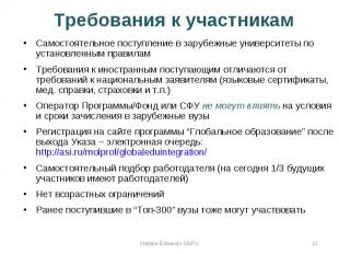 Требования к участникам Самостоятельное поступление в зарубежные университеты по