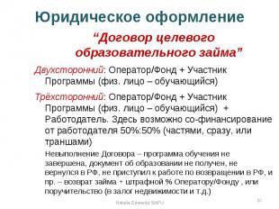"""Юридическое оформление """"Договор целевого образовательного займа"""" Двухсторонний:"""