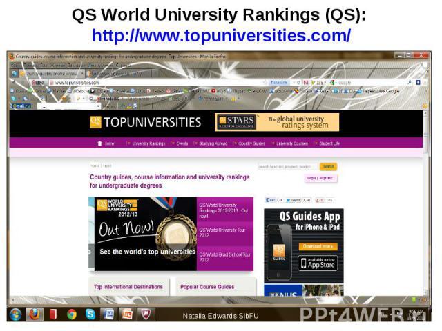 QS World University Rankings (QS): http://www.topuniversities.com/ Natalia Edwards SibFU *