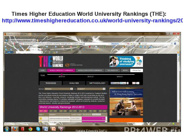 Times Higher Education World University Rankings (THE): http://www.timeshighereducation.co.uk/world-university-rankings/2012-13/world-ranking Natalia Edwards SibFU *