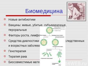 Биомедицина Новые антибиотики Вакцины: живые, убитые, субъединичные, пероральные