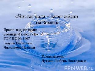Проект подготовили: ученицы 4 класса «Б» ГОУ ЦО № 1467 Задума Екатерина Чижонков