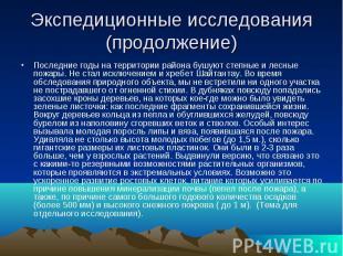 Экспедиционные исследования (продолжение) Последние годы на территории района бу