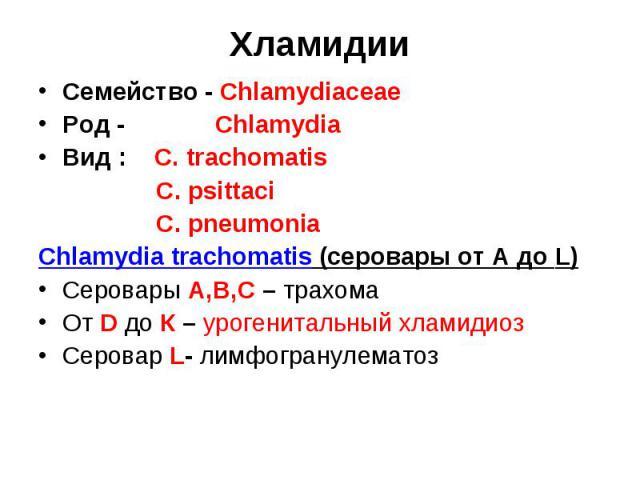Хламидии Семейство - Chlamydiaceae Род - Chlamydia Вид : C. trachomatis C. psittaci C. pneumonia Chlamydia trachomatis (серовары от А до L) Серовары А,В,С – трахома От D до К – урогенитальный хламидиоз Серовар L- лимфогранулематоз