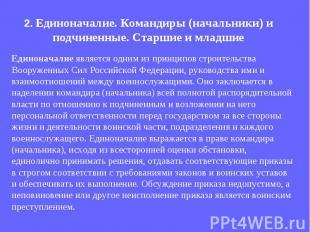 Единоначалие является одним из принципов строительства Вооруженных Сил Российско