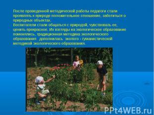 После проведенной методической работы педагоги стали проявлять к природе положит