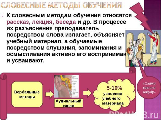 К словесным методам обучения относятся рассказ, лекция, беседа и др. В процессе их разъяснения преподаватель посредством слова излагает, объясняет учебный материал, а обучаемые посредством слушания, запоминания и осмысливания активно его воспринимаю…