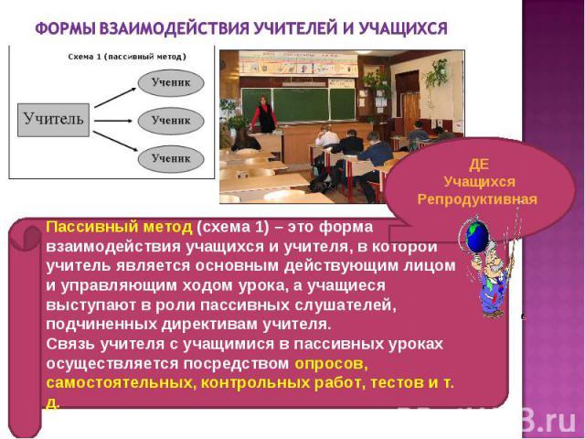Пассивный метод (схема 1) – это форма взаимодействия учащихся и учителя, в которой учитель является основным действующим лицом и управляющим ходом урока, а учащиеся выступают в роли пассивных слушателей, подчиненных директивам учителя. Связь учителя…