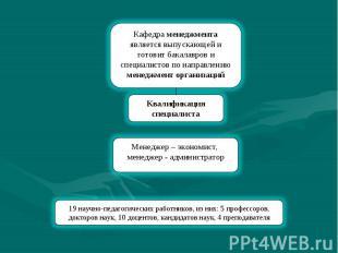 Кафедра менеджмента является выпускающей и готовит бакалавров и специалистов по