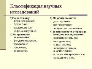 Классификация научных исследований 1)По источнику финансирования: бюджетные; хоз