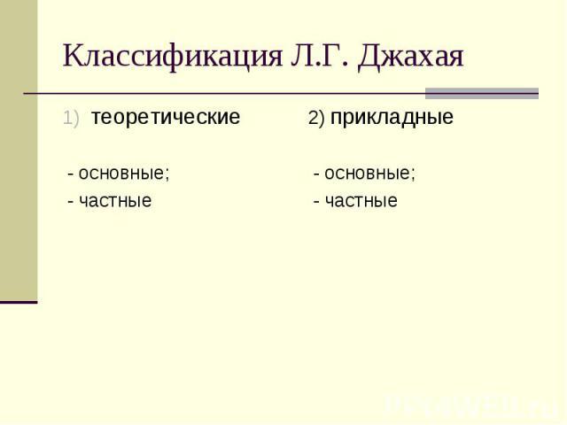 Классификация Л.Г. Джахая теоретические - основные; - частные 2) прикладные - основные; - частные