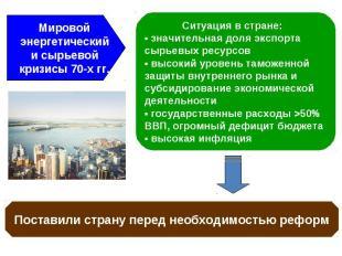 Мировой энергетический и сырьевой кризисы 70-х гг. Ситуация в стране: ▪ значител