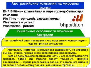 BHP Billiton – крупнейшая в мире горнодобывающая компания Rio Tinto – горнодобыв