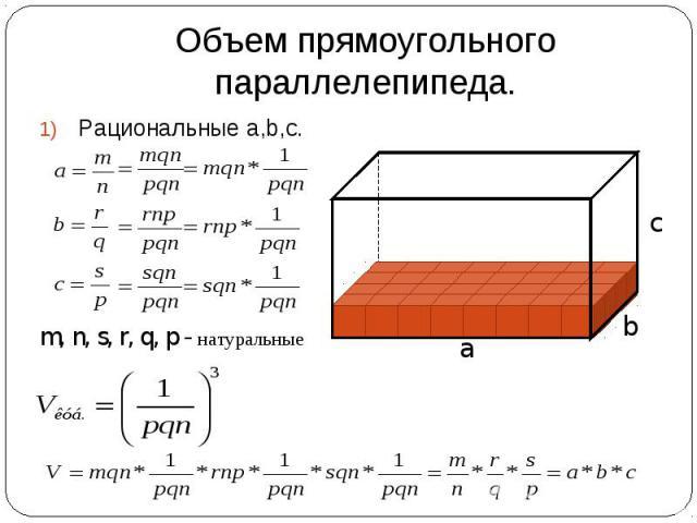 Объем прямоугольного параллелепипеда. Рациональные a,b,c. m, n, s, r, q, p - натуральные a b c