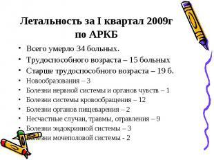 Летальность за I квартал 2009г по АРКБ Всего умерло 34 больных. Трудоспособного