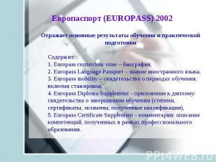 Отражает основные результаты обучения и практической подготовки Содержит: 1. Eur