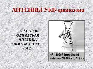 АНТЕННЫ УКВ-диапазона ЛОГОПЕРИ-ОДИЧЕСКАЯ АНТЕННА «ШИРОКОПОЛОС-НАЯ»