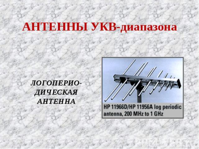 АНТЕННЫ УКВ-диапазона ЛОГОПЕРИО-ДИЧЕСКАЯ АНТЕННА