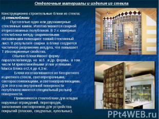 Отделочные материалы и изделия из стекла Конструкционно-строительные блоки из ст