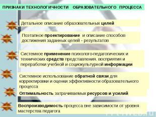 ПРИЗНАКИ ТЕХНОЛОГИЧНОСТИ ОБРАЗОВАТЕЛЬНОГО ПРОЦЕССА Детальное описание образовате