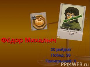 Фёдор Михалыч 20 рейдов Побед: 20 Проигрышей: 0