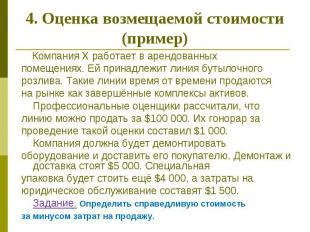 4. Оценка возмещаемой стоимости (пример) Компания Х работает в арендованных поме