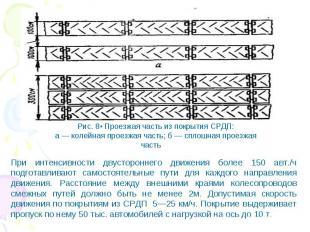Рис. 8• Проезжая часть из покрытия СРДП: а — колейная проезжая часть; б — сплошн