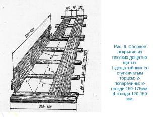 Рис. 6. Сборное покрытие из плоских дощатых щитов: 1-дощатый щит со ступенчатым