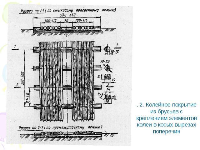 . 2. Колейное покрытие из брусьев с креплением элементов колеи в косых вырезах поперечин