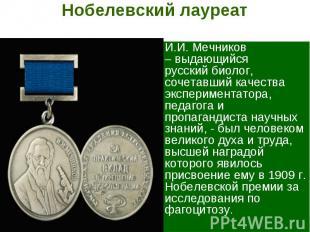 Нобелевский лауреат И.И. Мечников – выдающийся русский биолог, сочетавший качест