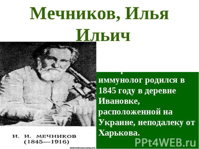 Илья Ильич Мечников – русский эмбриолог, бактериолог и иммунолог родился в 1845 году в деревне Ивановке, расположенной на Украине, неподалеку от Харькова. Мечников, Илья Ильич