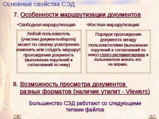 7. Особенности маршрутизации документов Свободная маршрутизация Жесткая маршрути