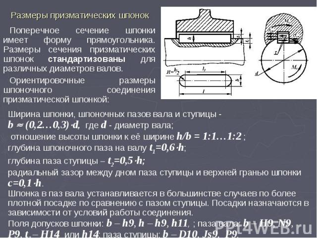 Ширина шпонки, шпоночных пазов вала и ступицы - b (0,2…0,3)d, где d - диаметр вала; отношение высоты шпонки к её ширине h/b = 1:1…1:2 ; глубина шпоночного паза на валу t1=0,6h; глубина паза ступицы t2=0,5h; радиальный зазор между дном паза ступицы и…