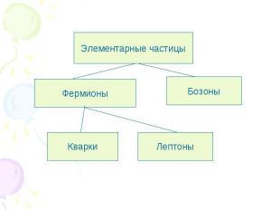 Элементарные частицы Фермионы Бозоны Кварки Лептоны