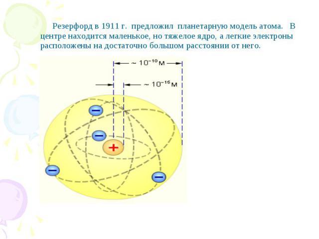 Резерфорд в 1911 г. предложил планетарную модель атома. В центре находится маленькое, но тяжелое ядро, а легкие электроны расположены на достаточно большом расстоянии от него.