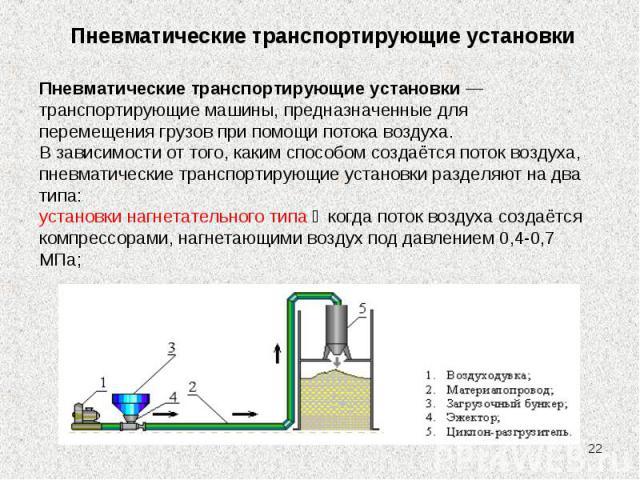 * Пневматические транспортирующие установки Пневматические транспортирующие установки — транспортирующие машины, предназначенные для перемещения грузов при помощи потока воздуха. В зависимости от того, каким способом создаётся поток воздуха, пневмат…
