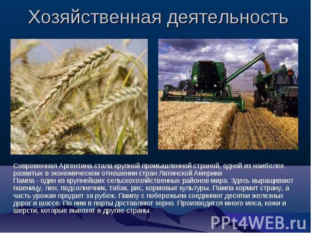 Хозяйственная деятельность Современная Аргентина стала крупной промышленной страной, одной из наиболее развитых в экономическом отношении стран Латинской Америки Пампа - один из крупнейших сельскохозяйственных районов мира. Здесь выращивают пшеницу,…