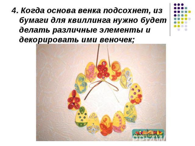 4. Когда основа венка подсохнет, из бумаги для квиллинга нужно будет делать различные элементы и декорировать ими веночек;