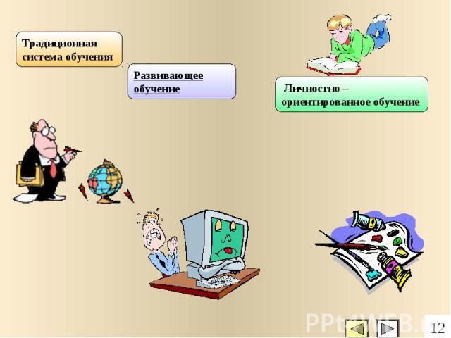 Традиционная система обучения Развивающее обучение Личностно – ориентированное обучение 12